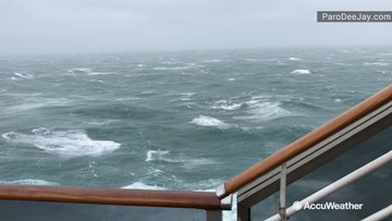 Cruise ship battles nor'easter winds & waves