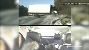 Truck crashes on icy road, narrowly misses 3 people