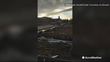 Town intersection devastated after tornado tears through