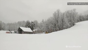 Another snowy day at New York ski resort