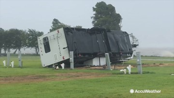 Wow! Barry produced winds so strong it flipped over this RV