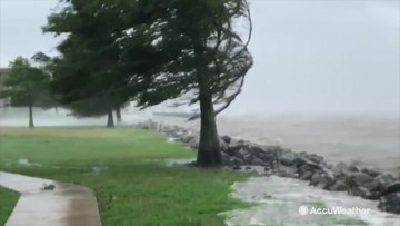 Coastline slammed with storm surge caused by Hurricane Barry