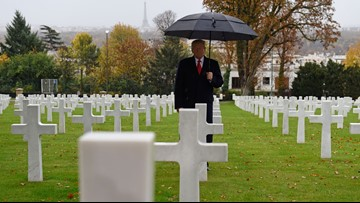 President Trump honors the dead of World War I – and avoids politics