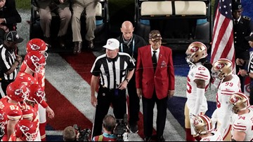 100-year-old WWII veterans perform Super Bowl coin toss