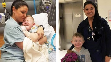 'Will you snuggle with me?'   Nurse holds boy crying after surgery