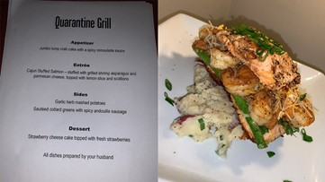 Isolation date night: Husband creates 'Quarantine Grill' for wife