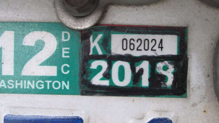 Washington license plate tab colored in