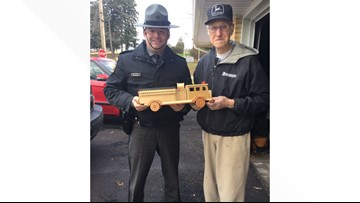 93-year-old toymaker made 300 wooden trucks for children this Christmas