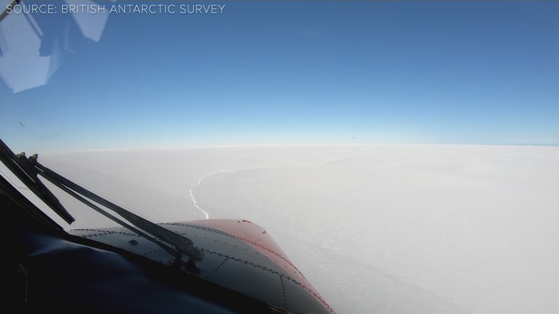 Huge iceberg breaks off Brunt Ice Shelf in Antarctica