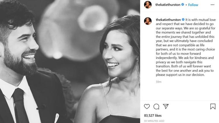 'Not compatible as life partners' | 'Bachelorette' Katie Thurston from Renton announces split from fiancé Blake Moynes