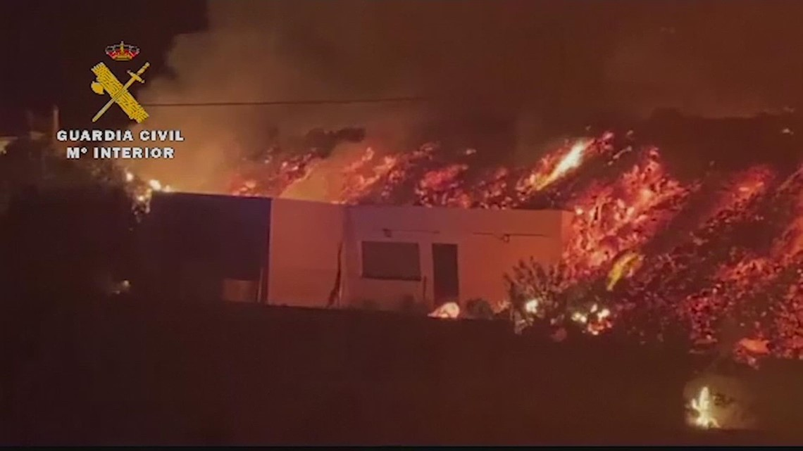 Lava engulfs houses in Spain's Canary Islands