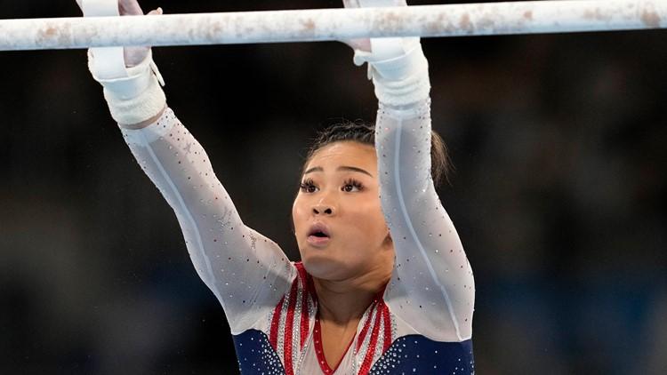 WATCH: Suni Lee earns huge uneven bars score in all-around final