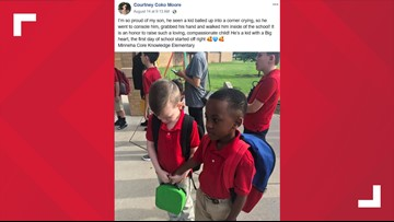 PHOTO: Boy befriends crying classmate with autism on first day of school