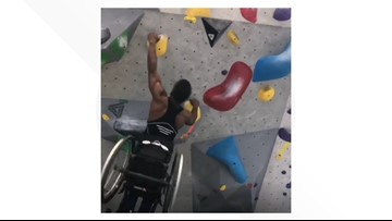 Watch this athlete in a wheelchair easily scale a climbing wall