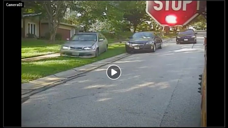 A man has been arrested after video appears to showhim speeding through a yard, ignoring a school bus stop arm near an elementary school in Missouri.
