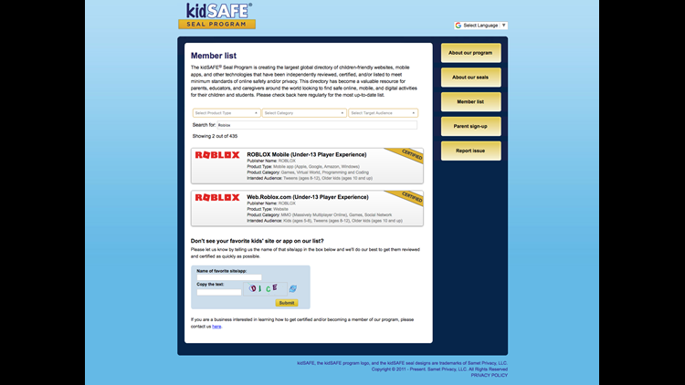 KidSAFE Seal Program certifies Roblox