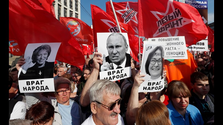 Thousands rallied across Russia on Saturday to protest the government's plan to raise the eligibility age for retirement pensions by five years.