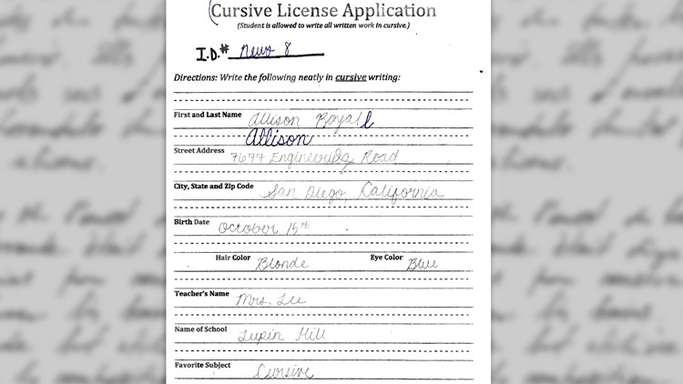 Allison Cursive License Test