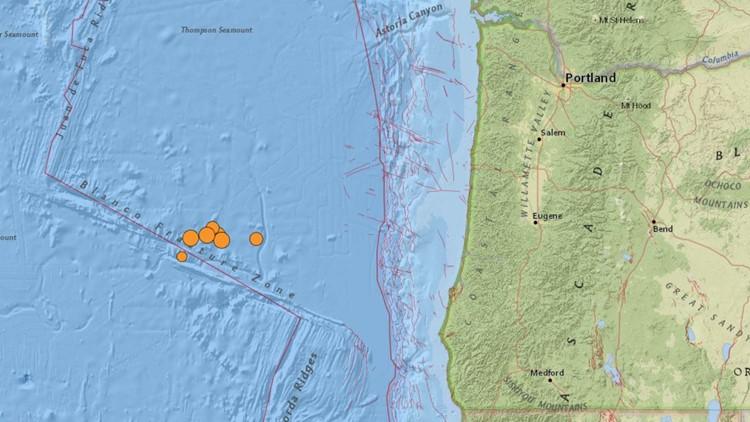 6 earthquakes strike off Oregon coast Thursday morning