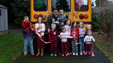 Grandfather Express: Oregon man buys bus to take his 10 grandchildren to school
