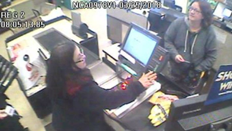 Jennifer Hart is seen in this Safeway surveillance image in Fort Bragg, Calif., on Sunday, March 25, 2018. (Photo: California Highway Patrol)