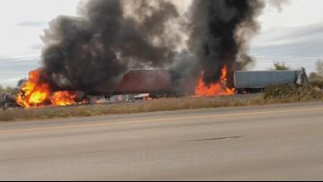 Fiery semi crash closes southbound I-5 near Woodburn, Oregon