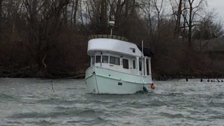 Boat that sank in the Columbia River in 2017. It will cost $60,000 to salvage