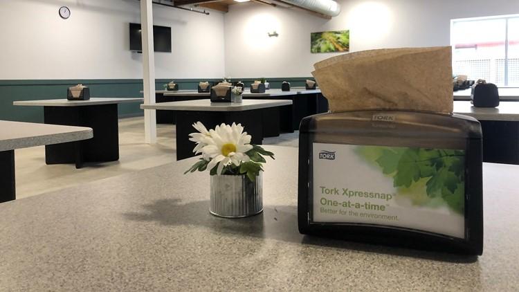 Inside, the Laurelwood Center, Portland's newest permanent homeless shelter