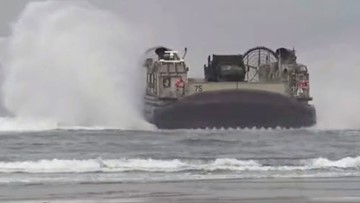 Watch the US Navy land two massive hovercrafts on an Oregon beach