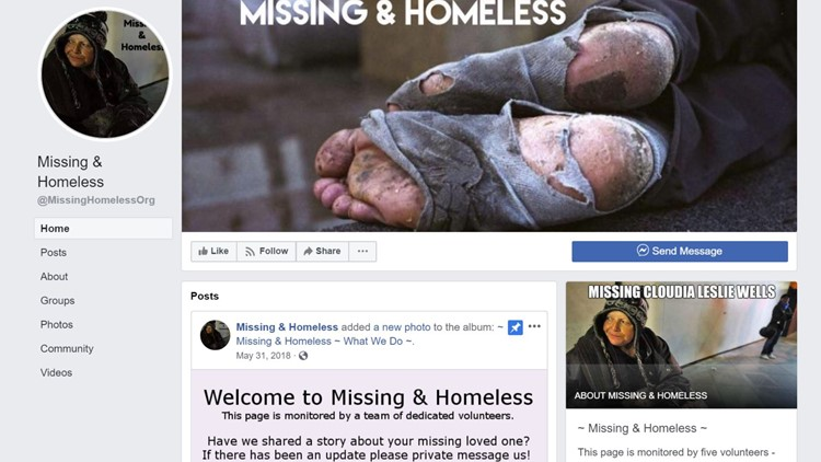 Missing & Homeless Facebook group