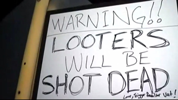 Atascocita homeowner sign: 'Looters will be shot dead'