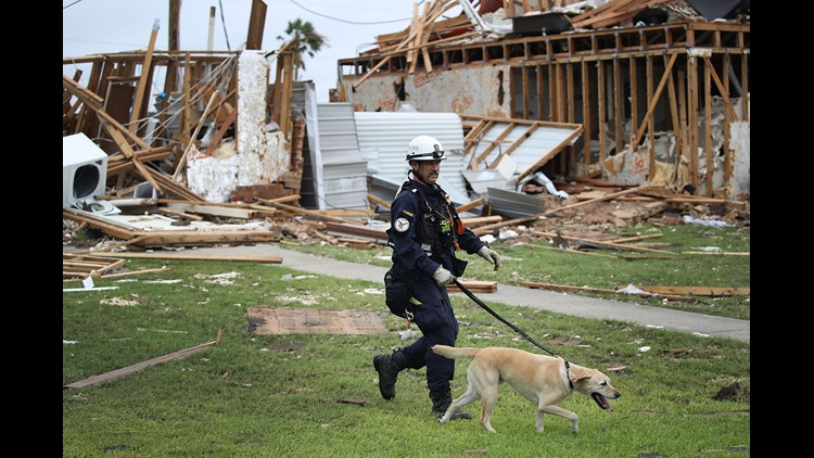 Robert Grant and Rocky from the Texas Task Force 2 search and rescue team work through a destroyed apartment complex trying to find anyone that still may be in the apartment complex after Hurricane Harvey passed through Rockport, Texas.