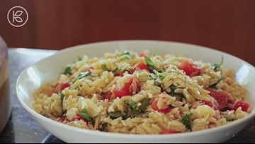 Orzo With Watermelon, Feta and Basil