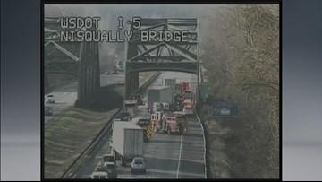 SB I-5 back open after triple semi crash at Nisqually River Bridge