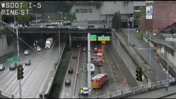 Multiple southbound I-5 lanes near Union Street closed due to crash
