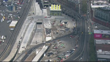Aerial view of Seattle tunnel construction