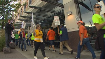 Union groups protest Freedom Foundation, Fox News' Laura Ingraham outside fundraiser in Bellevue