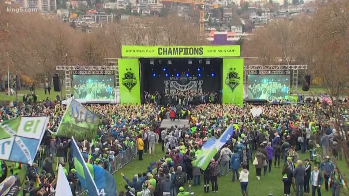 Seattle Sounders celebrate MLS cup win with rally and parade