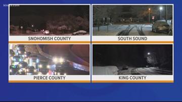 Puget Sound region waking up to snow, slick roads