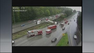 Semi-truck crash blocks lanes on I-5 in Seattle