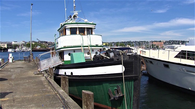 "This 1927 tug boat is available to rent and even has a name, the ""Sally S""."