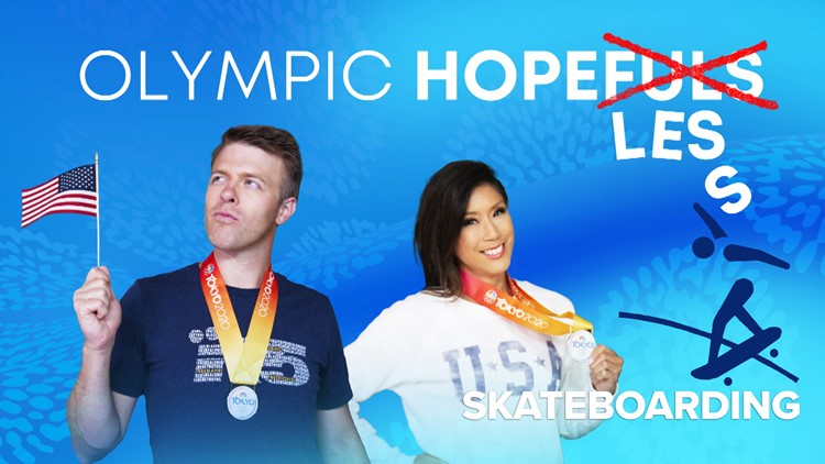 Olympic Hopeless: Jake and Mimi attempt to skateboard