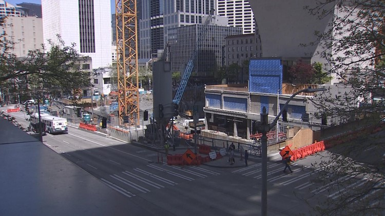 Construction of the skyscraper at Rainier Square. Amazon previously agreed to lease all 722,000 sq feet of office space in the tower. It now says it's considering subleasing the space to another company.
