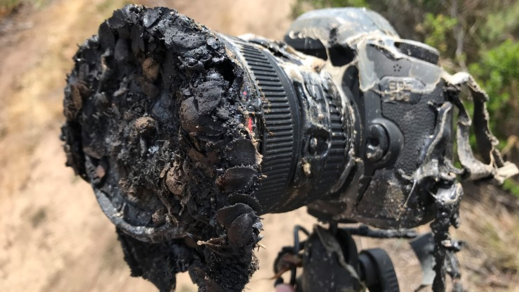NASA Photographer Bill Ingalls's camera after it was caught in brushfire caused by the launch of the NASA/German GRACE-FO from Vandenberg Air Force Base on May 22, 2018.