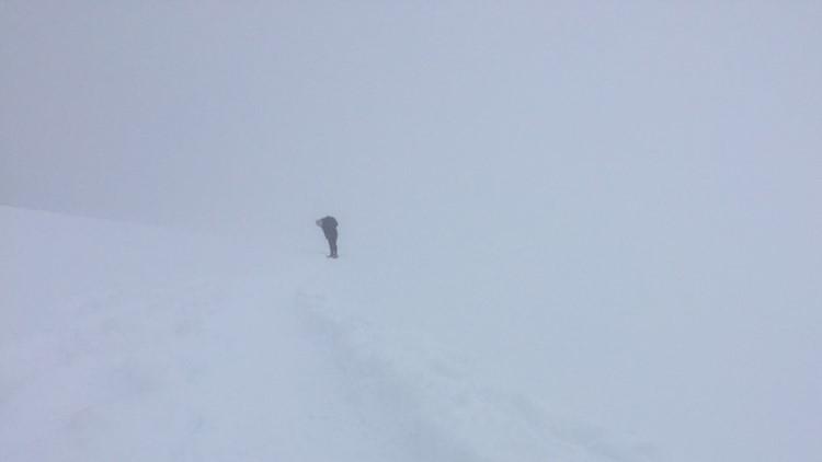 Low visibility Mount Rainier