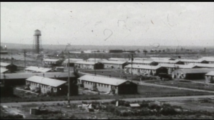 Archive photos of Minidoka internment camp in Idaho, where thousands of Japanese-Americans were forced to live during World War II.