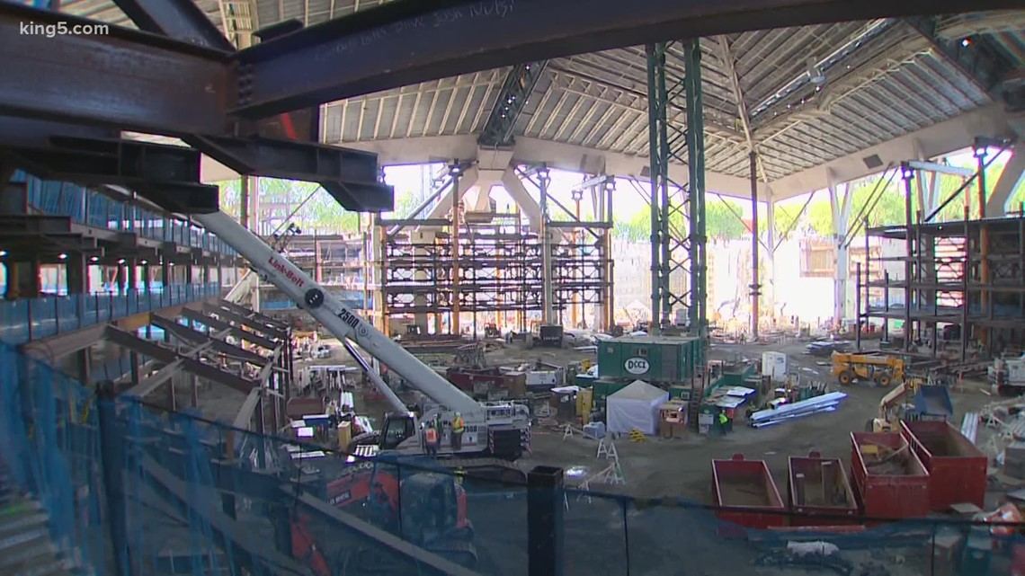 See the progress inside Climate Pledge Arena, future home of Seattle Kraken
