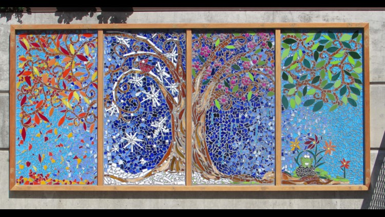 Sammamish Mosaic artist Cheryl Smith's piece at the  Issaquah Highlands YWCA