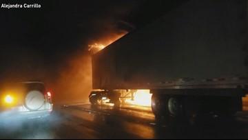 Raw: Semi-truck fire on I-5 express lanes in Seattle