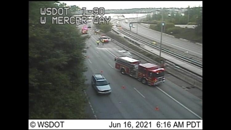 Eastbound I-90 lanes reopen on Mercer Island after rollover crash